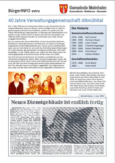 Extra - 40 Jahre Verwaltungsgemeinschaft Altmühltal